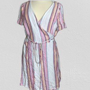 Forever 21 + Serape Stripe Wrap Dress 3x NWT